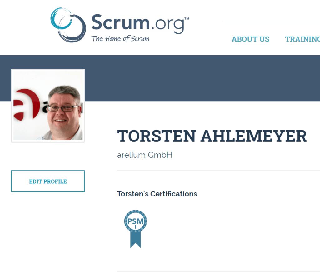 zertifikat Torsten AHlemeyer zum Professional SCRUM Master